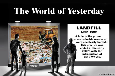 Image: The World of Yesterday - Landfill circa 1999 - A hole in the ground where valuable resources were needlessly buried. This practice was ended in the early 2000's with the introduction of ZERO WASTE.